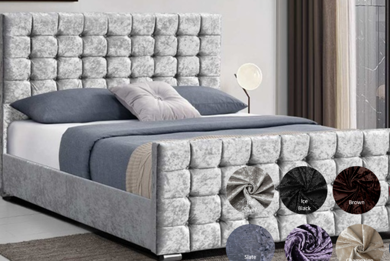 Bedstead Bed with Cubed Headboard - 9 Colours & 4 Sizes!