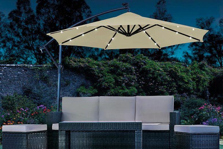 Parasol Solar Light System Garden, Patio Umbrellas With Solar Lights