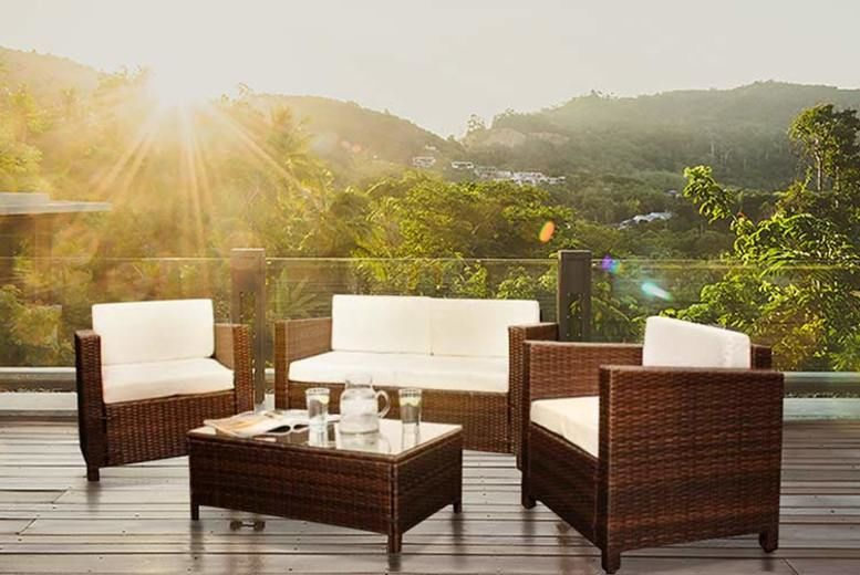 4pc Rattan Lounge Set w/ Optional Rain Cover - 4 Colours!