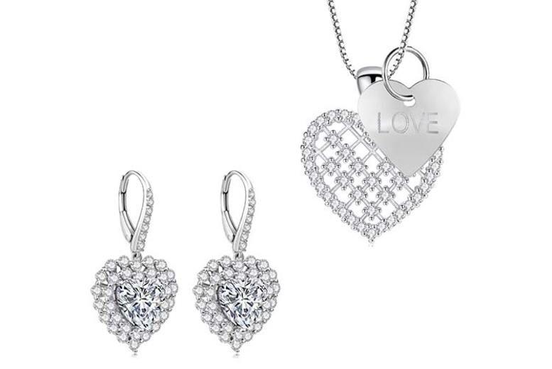 Heart Earrings & Pendant with Love Heart Tag Made w/Crystals from Swarovski© (£19.99)