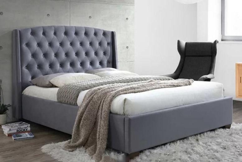Velvet Bed w/ Wingback Headboard - 2 Mattress Options & 3 Sizes!