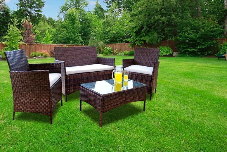 4-Seat Outdoor Rattan Garden Furniture Set with Table (from £89)