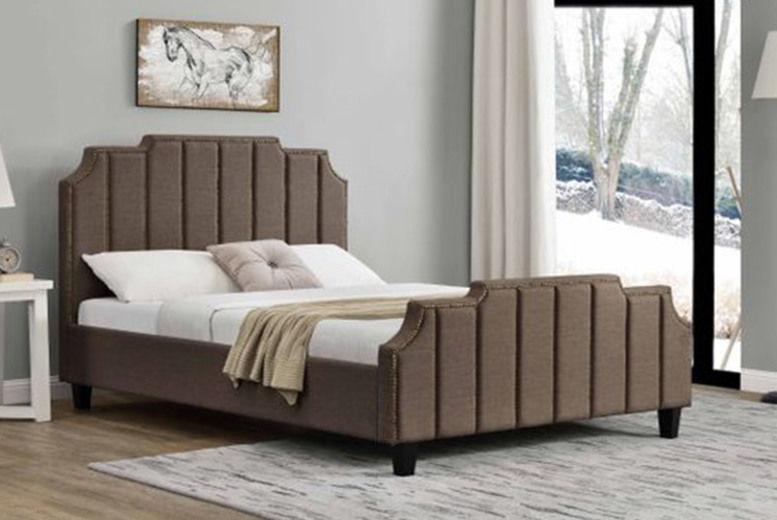 Linen Fabric Double Bed - Optional Mattress!