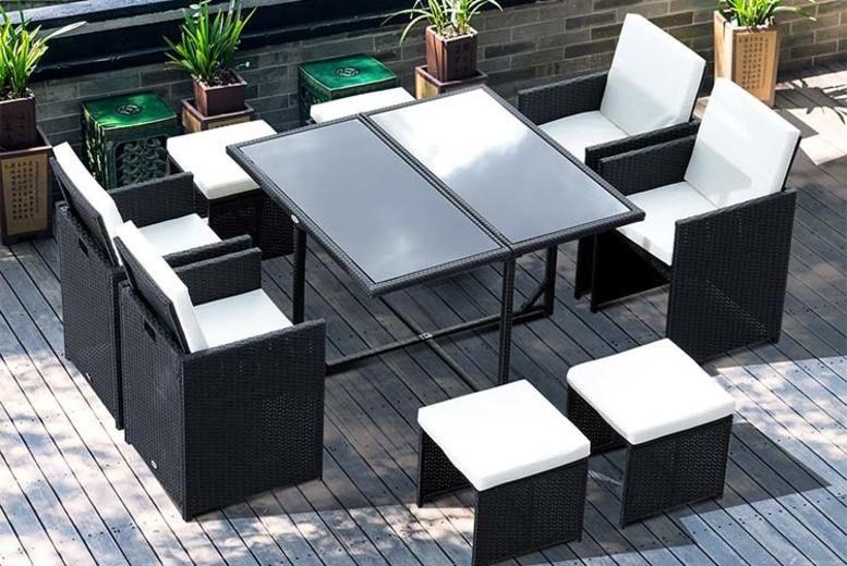 9pc Highback Rattan Garden Furniture Set