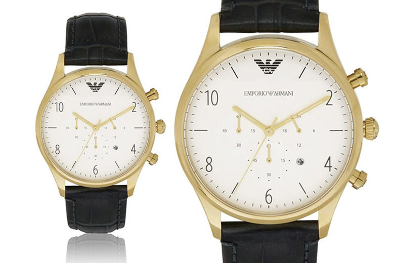 Emporio Armani Men's Black Leather Strap Chronograph Watch