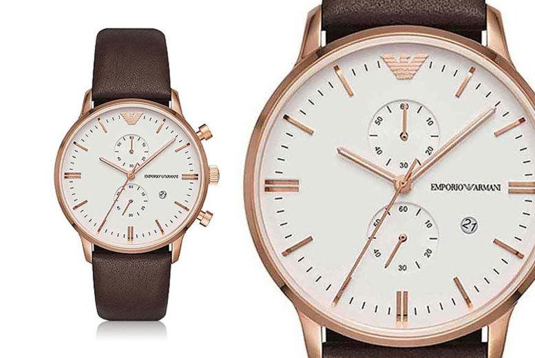 Emporio Armani Men's Rose Gold Chronograph Watch
