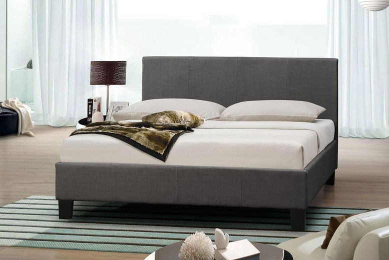 Designer Italian Grey Fabric Bed with Optional Mattress - 4 Sizes!