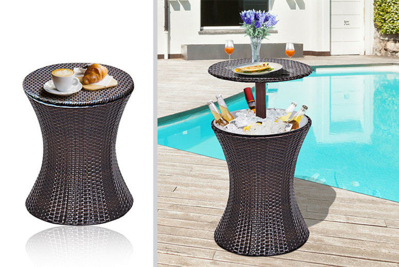 Rattan Ice Bucket Table