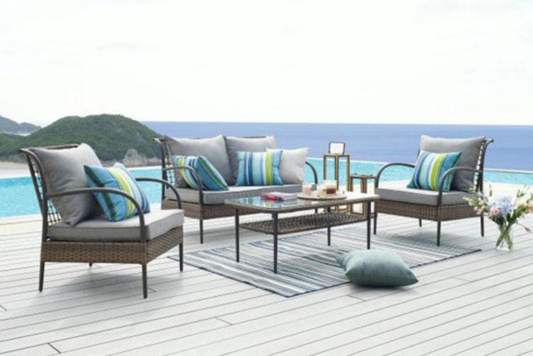4-Seater Brown Rattan Lounge Set