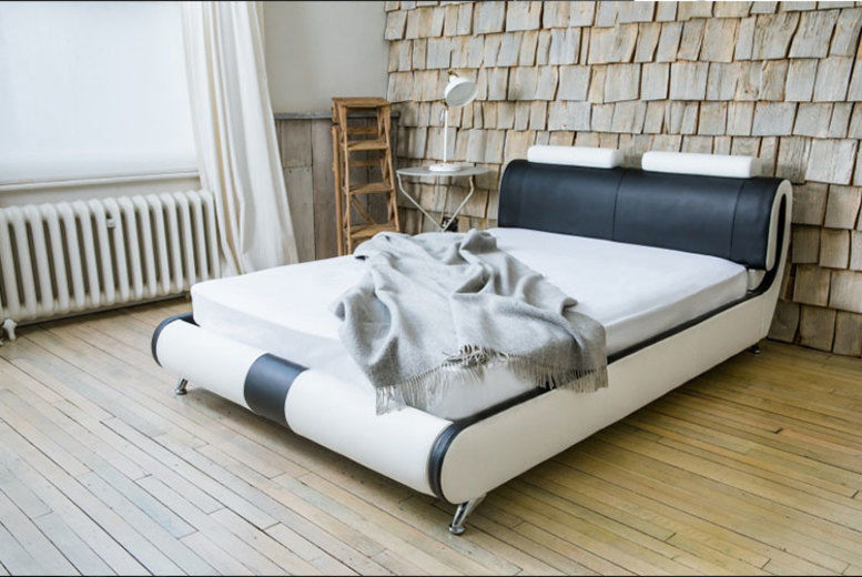 Paris Designer Leather Bed with Optional Mattress - 3 Sizes!