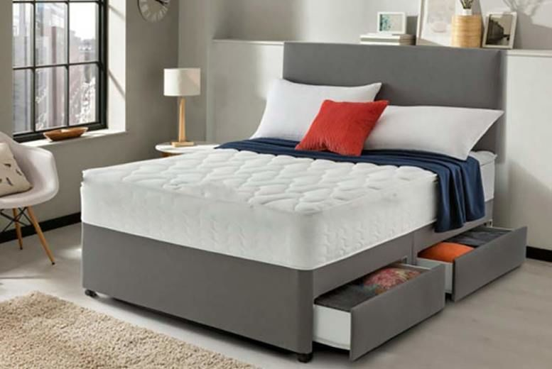 Grey Divan Bed With Headboard & Mattress - 6 Sizes & Storage Options!