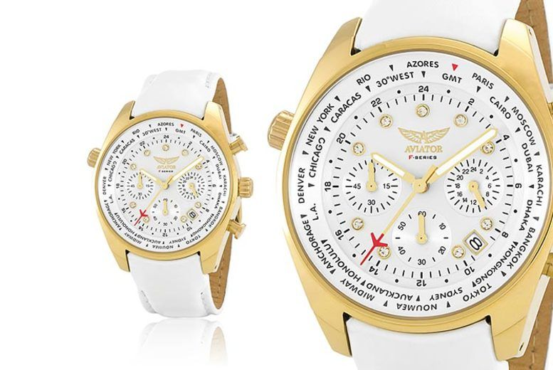 Ladies' White & Gold Aviator Watch