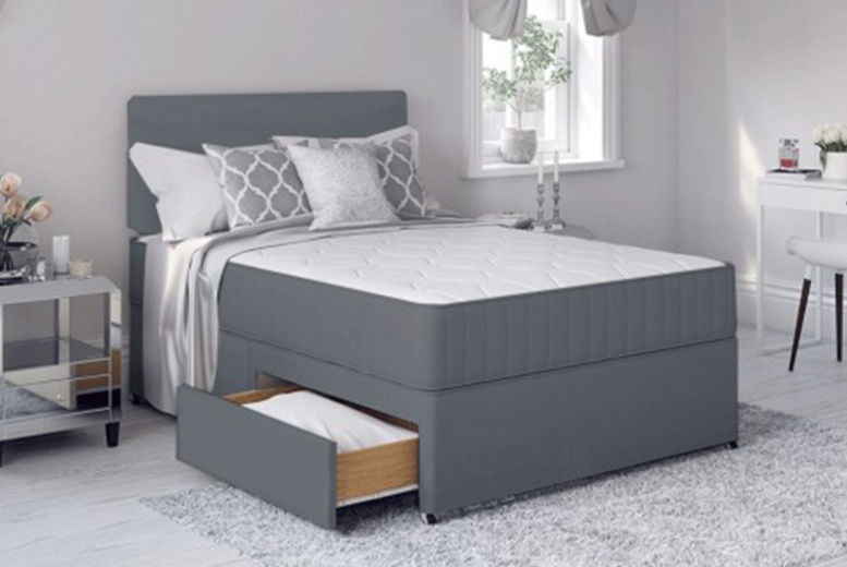 Grey Divan Bed Set w/ Mattress - 6 Sizes & 3 Drawer Options!