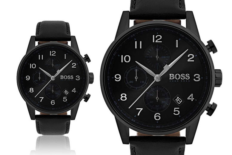 Hugo Boss Men's Black Leather Navigator HB1513497 Watch