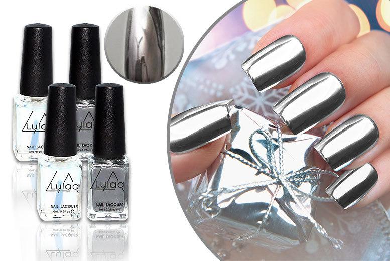 4pc Magic Mirror Silver Chrome Nail Lacquer Set   Shop   Wowcher