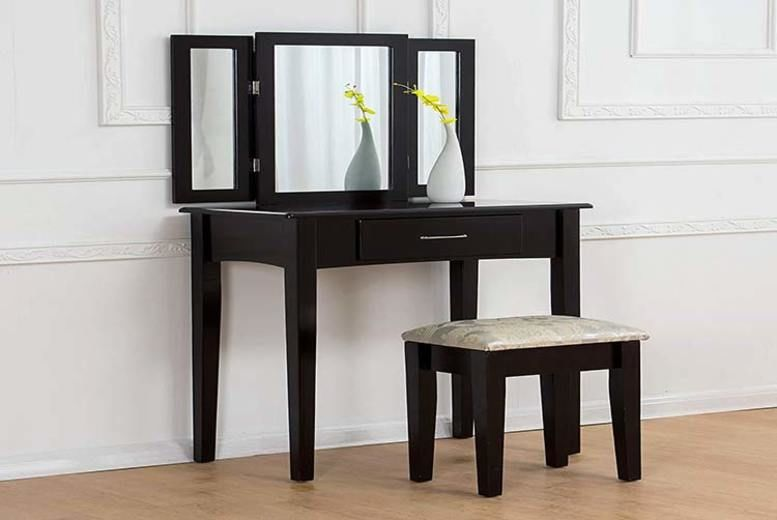 Triple-Mirror Dressing Table & Matching Stool