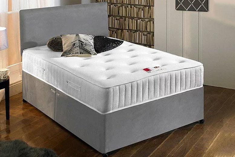 Suede Divan Bed Set w/ Memory Foam Mattress - 6 Sizes & 3 Colour!