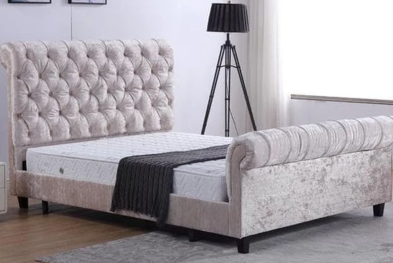 Alanya Sleigh Crushed Velvet Bed with Headboard - 2 Colours & Sizes!