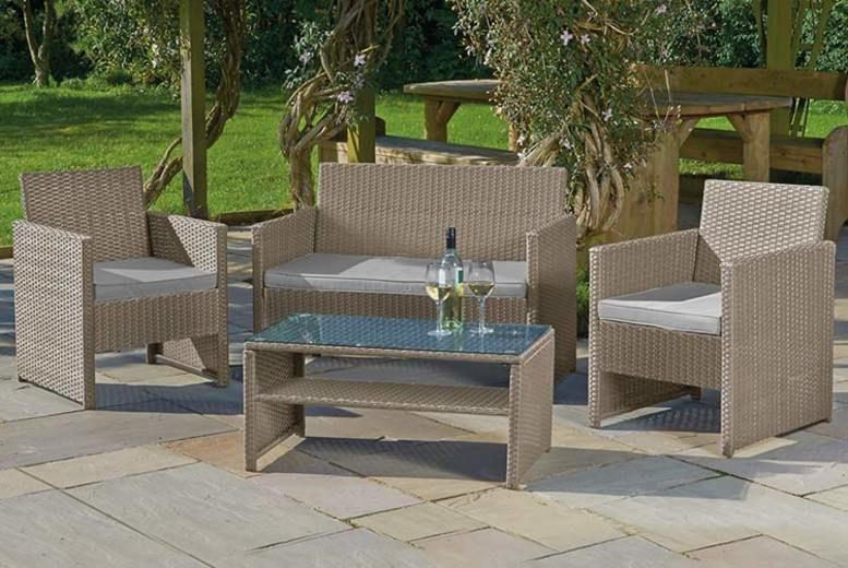 4pc Rattan Garden Lounge Set & Optional Cover (from £139)