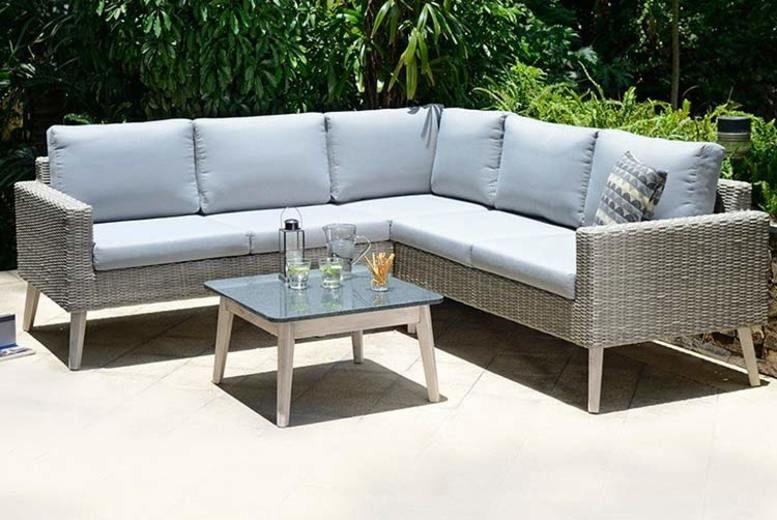 Grey Copenhagen Rattan Corner Sofa Set