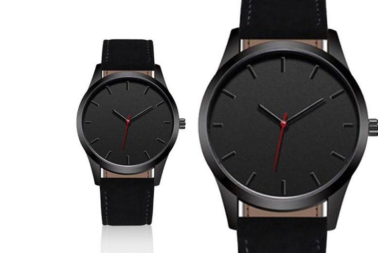 Personalised Black Engraved Watch