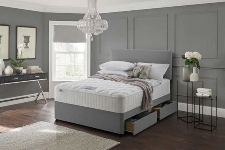 Grey Fabric Divan Bed Set with Headboard & Memory Mattress - 6 Sizes!