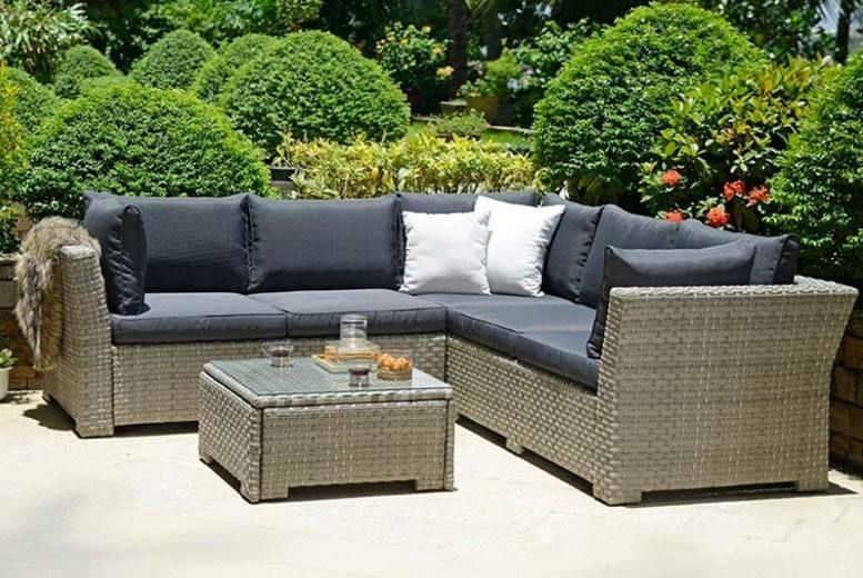 Chesterton Corner Rattan Set with Cushions & Coffee Table