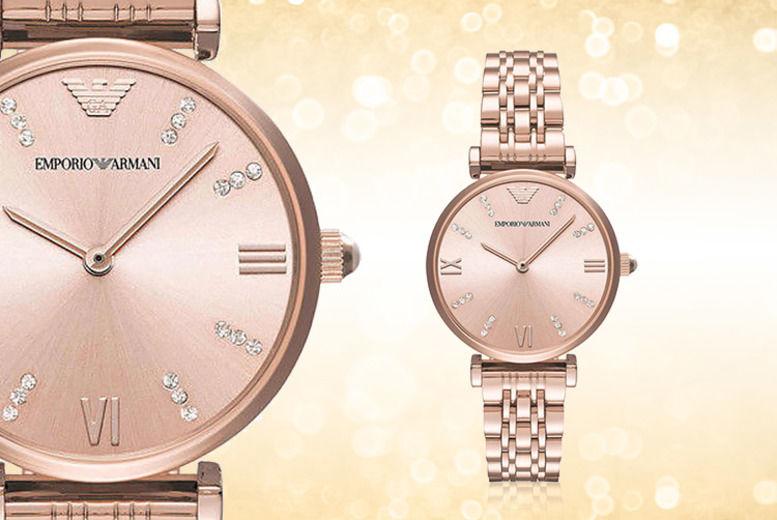 Emporio Armani AR11059 Ladies Blush Rose-Gold Stainless Steel Watch