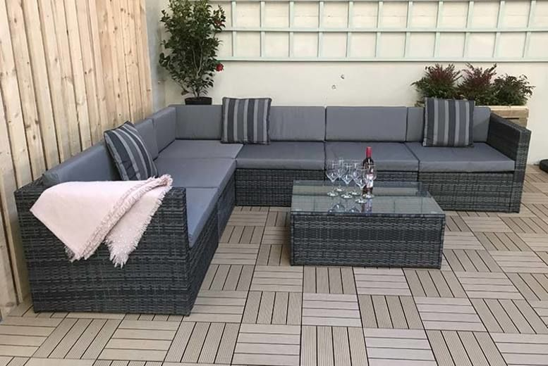 Evie Grey Rattan Corner Sofa (from £529)