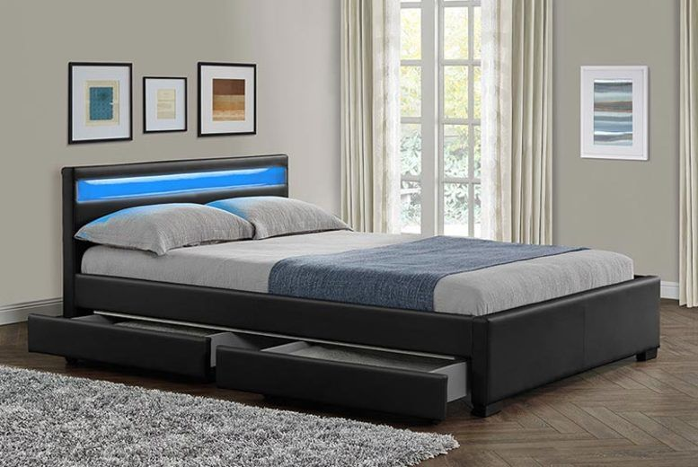 Comet Black 4-Drawer Bed w/ LED Option and Mattress Options - 2 Sizes!