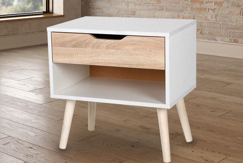 Nordic Style White & Oak Effect Bedside Table