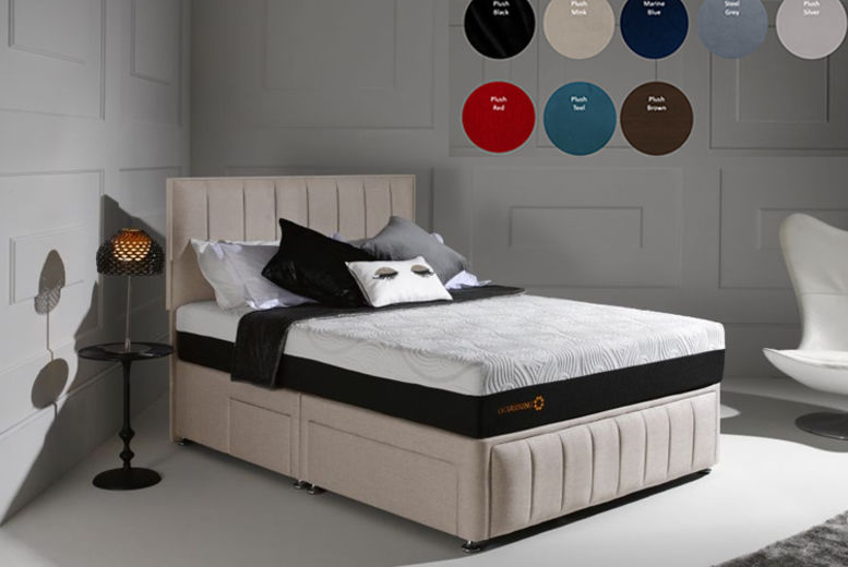 Divan Fabric Bed with Panel Headboard & Optional Drawers - 8 Colours & 4 Sizes