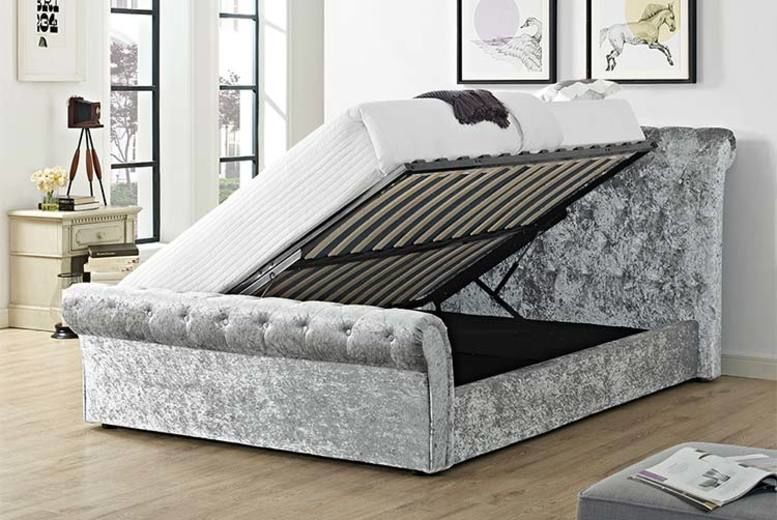 Sevilla Crushed Velvet Sleigh Bed - Optional Quilted Mattress!