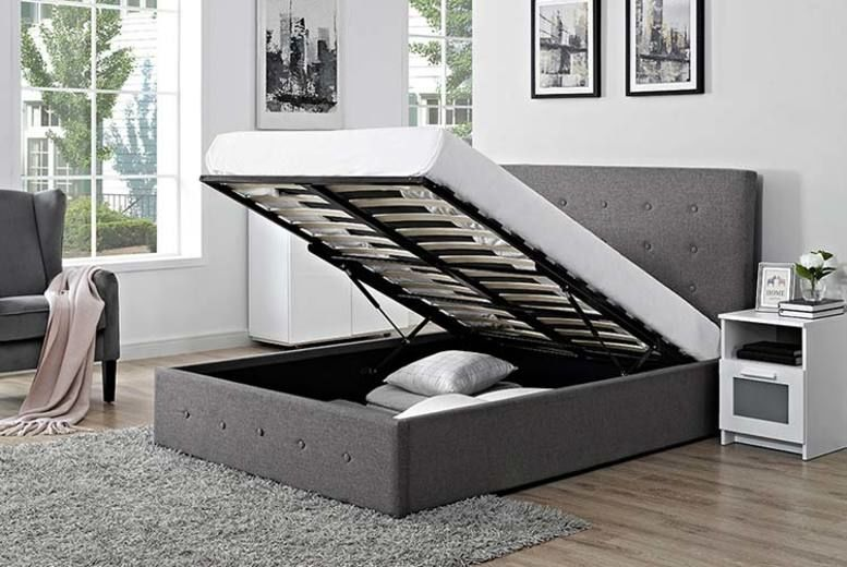 Fabric Ottoman Storage Bed - 2 Sizes, 2 Colours & Mattress Option!