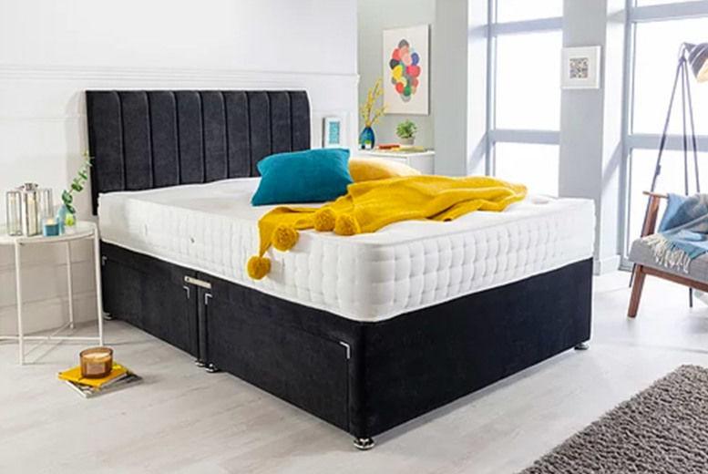 Black Velvet Divan Bed Set with Memory Mattress - 6 Sizes & Drawer Options!
