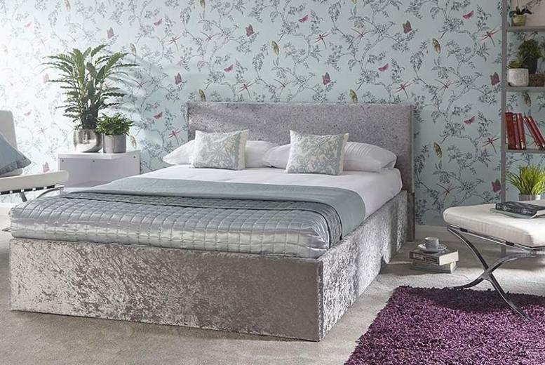 Steel Crushed Velvet Ottoman Storage Bed - 4 Sizes!