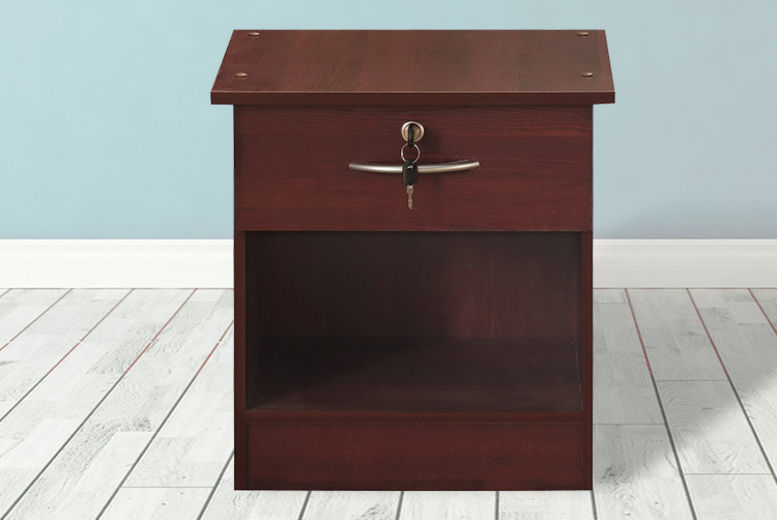 Wooden Bedside Table w/ Drawer, Lock & Key – 5 Colours (from £31)