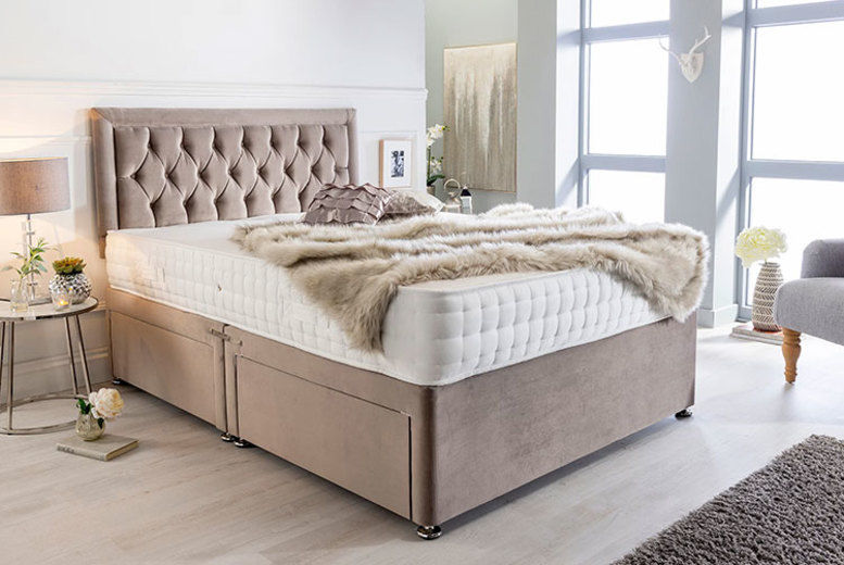 Grey Suede Divan Bed w/Memory Foam Mattress & Headboard – 6 Sizes