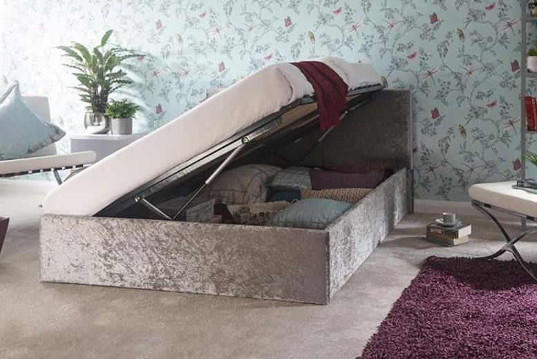 Steel Crushed Velvet Ottoman Storage Bed – 4 Sizes (from £139)