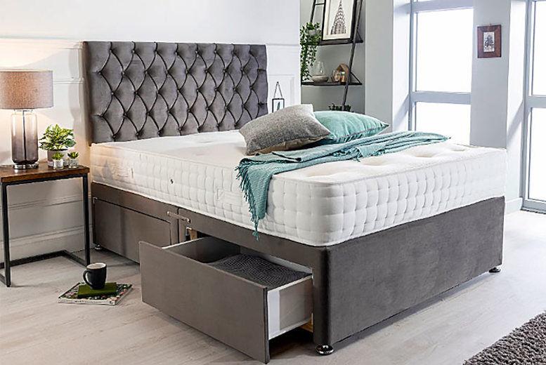 Velvet Plush Divan Bed with Headboard, Drawers & Mattress