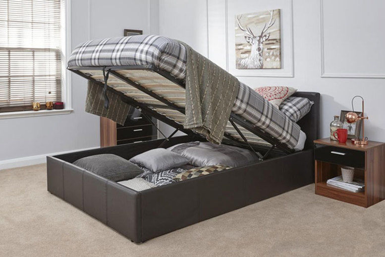 Caspian Brown Ottoman Storage Bed – 4 Sizes! (from £99)