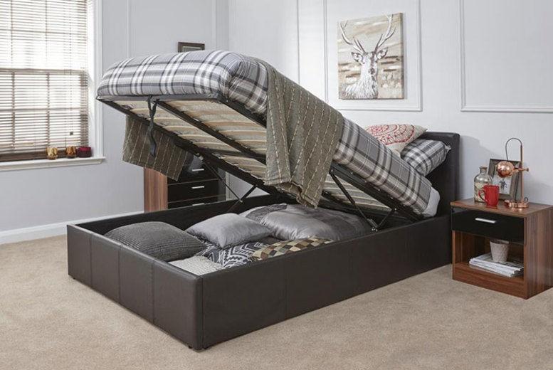 Caspian Brown Ottoman Storage Bed - 4 Sizes!