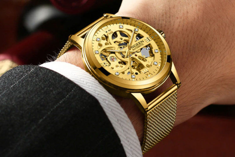 Men's Luxury Automatic Gold Mesh Watch