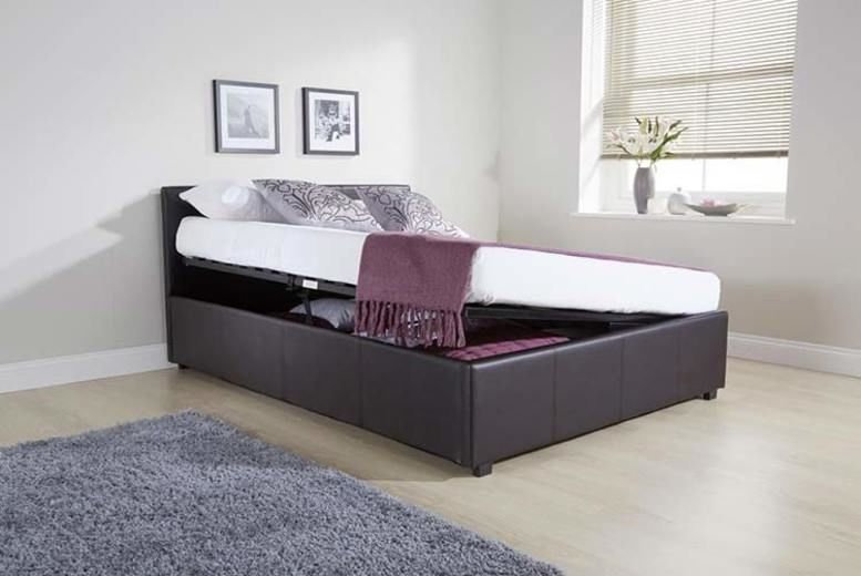 Caspian® Brown Side Gas Lift Ottoman Storage Bed - 4 Sizes!