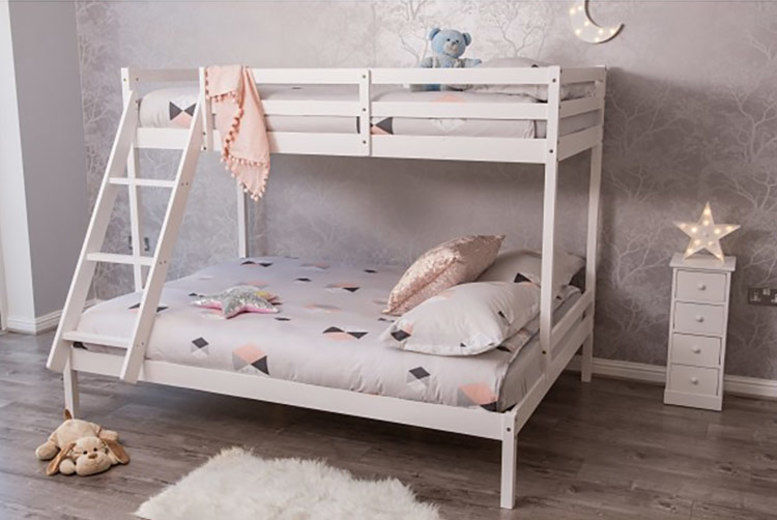 White Pine Wood Triple Bunk Bed Frame Only