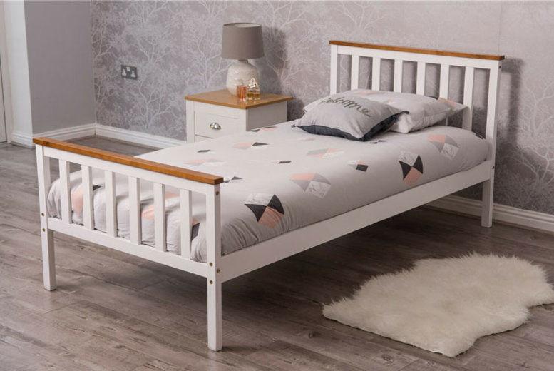 Pine Wood Bed Frame - Colour & Mattress Options!