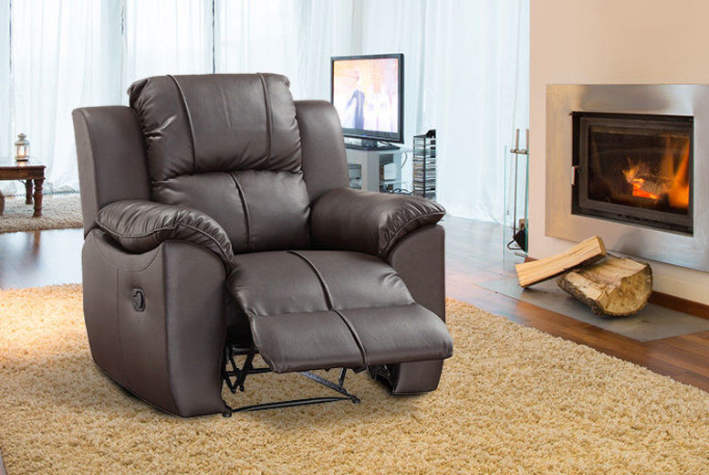 Bonded Leather Recliner Armchair – 2 Colours (from £169)