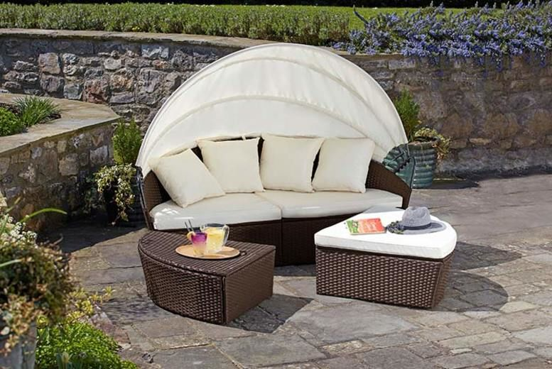 Outsunny 4PC Rattan Sofa Set Stool Furniture Storage Coffee Table w// Lift Up Top