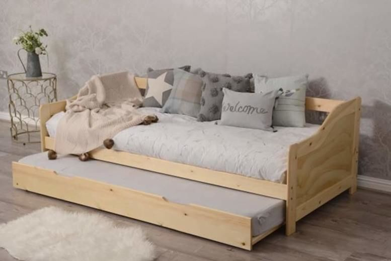 Wooden 3ft Single Bed With Trundle – Mattress Option!