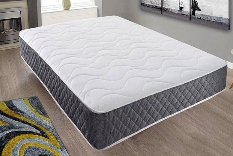 Black Quilted Memory Foam Sprung Mattress – 6 Sizes! (from £39)